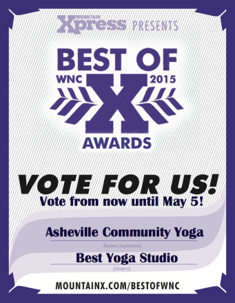 Support Us As Best Yoga Studio in Best of WNC 2015 Poll